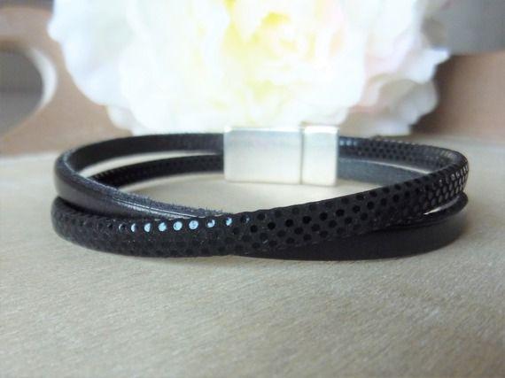 Bracelet cuir femme noir et simili cuir noir à pois - fermoir aimanté - mesure personnalisable