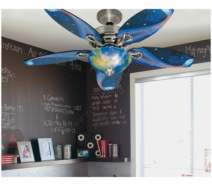 The Hunter Discovery Ceiling Fan Features 5 Reversible Blades And A World  Globe Design On The Light Fixture To Create An Out Of This World Look In A  Childu0027s ...