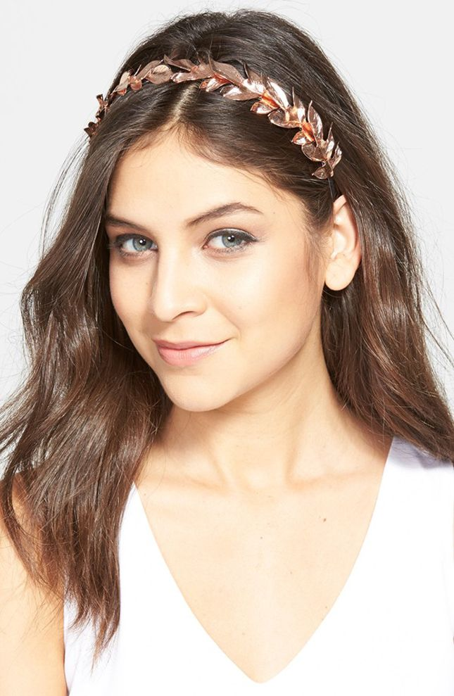 Accessorize your look with a rose gold headband.