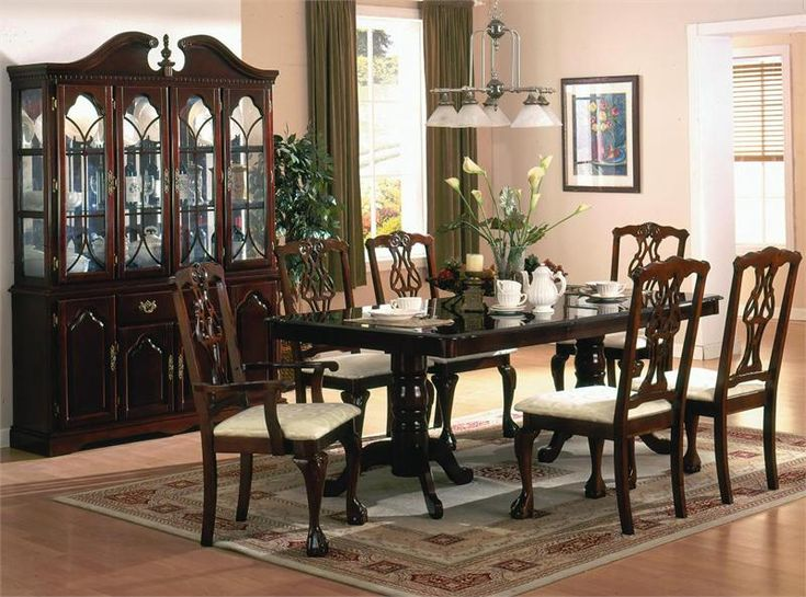 Enticing Dining Room Set Idea With Dark Cherry Wooden Cabinet And 7 Piece Varnished Table Chairs Also Area Rug Epic Pendant Lamp Green