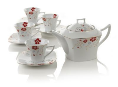 Red Bloom Teapot Set: Red Bloom, Bloom Teapots, Teas Time, Ceramics Teapots, Teas Pots, Teapots Sets, Teas Sets, Teas Teapots, Teas Parties
