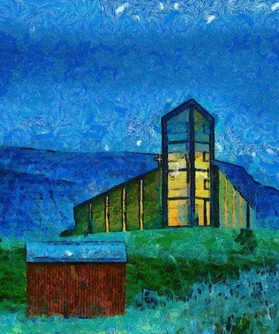 Stretched Canvas Print of Talknafjordur Church by ArtbyOlafur, $73.00