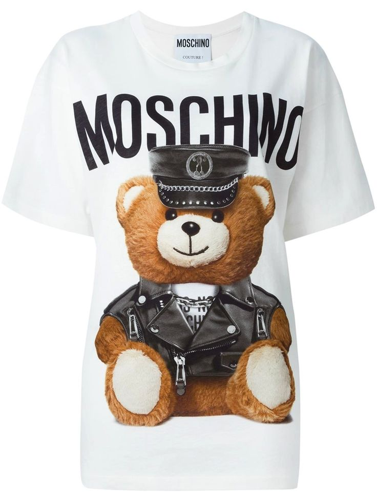 Moschino Teddy Bear in leather clothes Printed Cotton Jersey T-Shirt