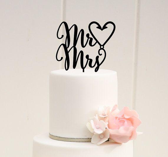 Mr & Mrs Fishing Hook Heart Wedding Cake by ThePinkOwlDesigns