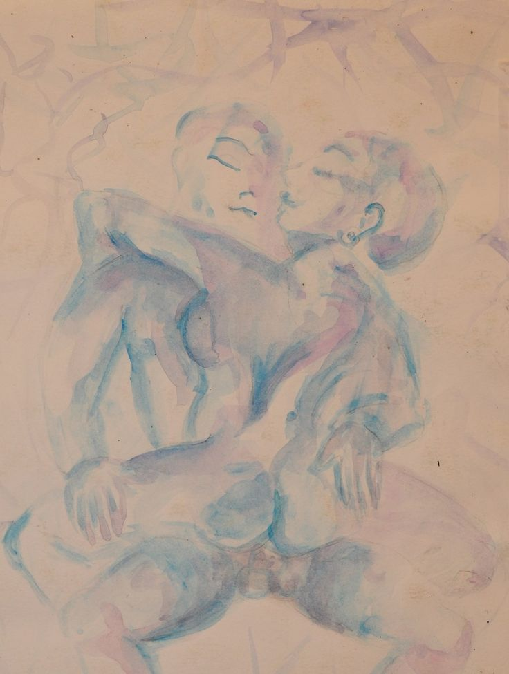 Blue Kamasutra #watercolor on paper #sketches #figura #blue