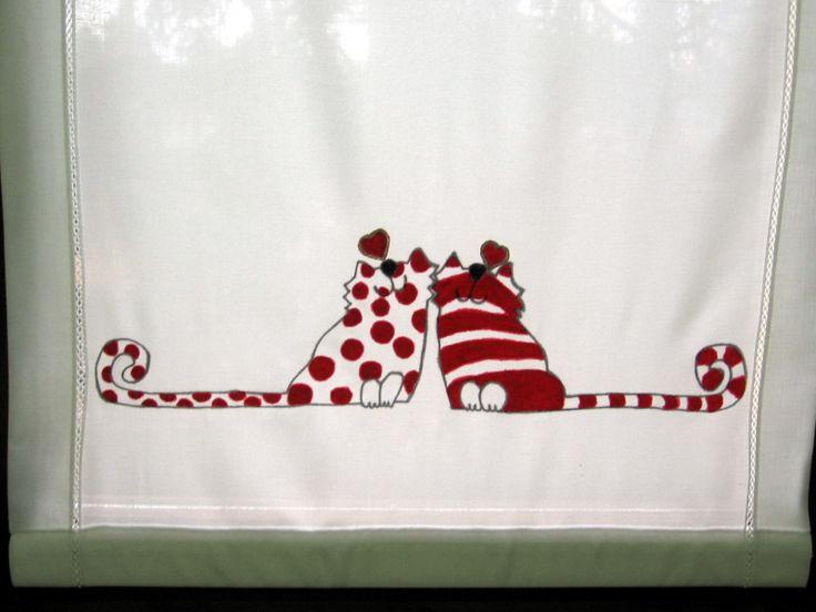 Tenda con gattini innamorati - pittura su stoffa