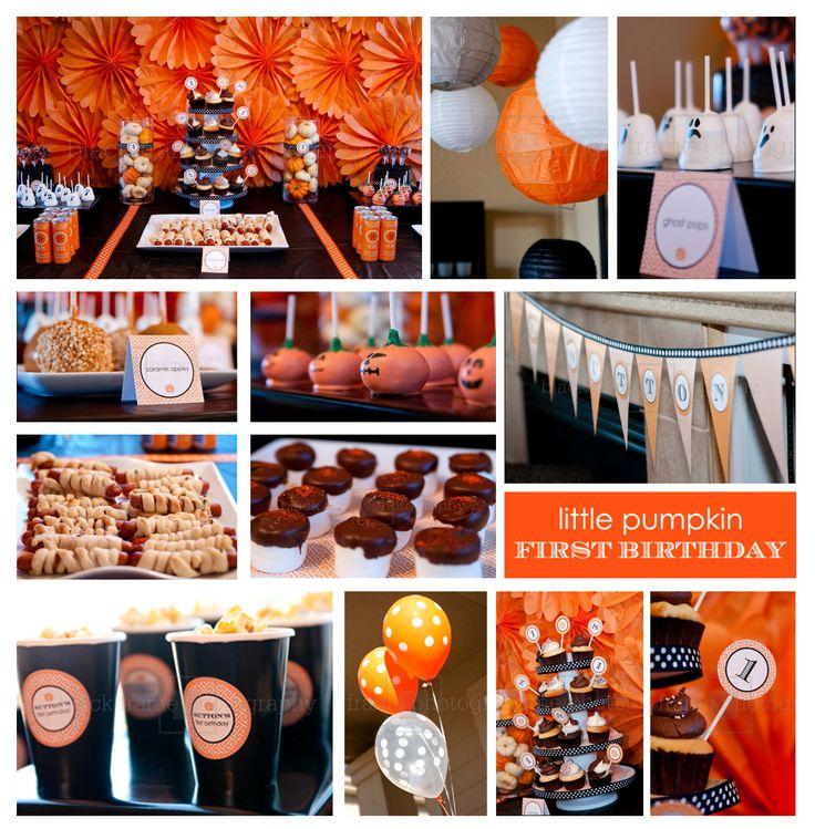 Little Pumpkin first birthday partyHalloween Theme, Halloween Birthday, First Birthday Parties, Halloween Parties Ideas, First Birthdays, 1St Birthdays, Party Ideas, Pumpkin Parties, Birthday Ideas