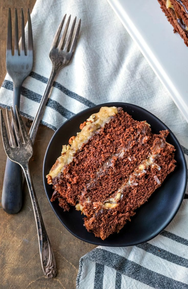 Homemade German Chocolate Cake is an easy recipe to make the German chocolate cake, coconut pecan filling, and chocolate ganache from scratch.