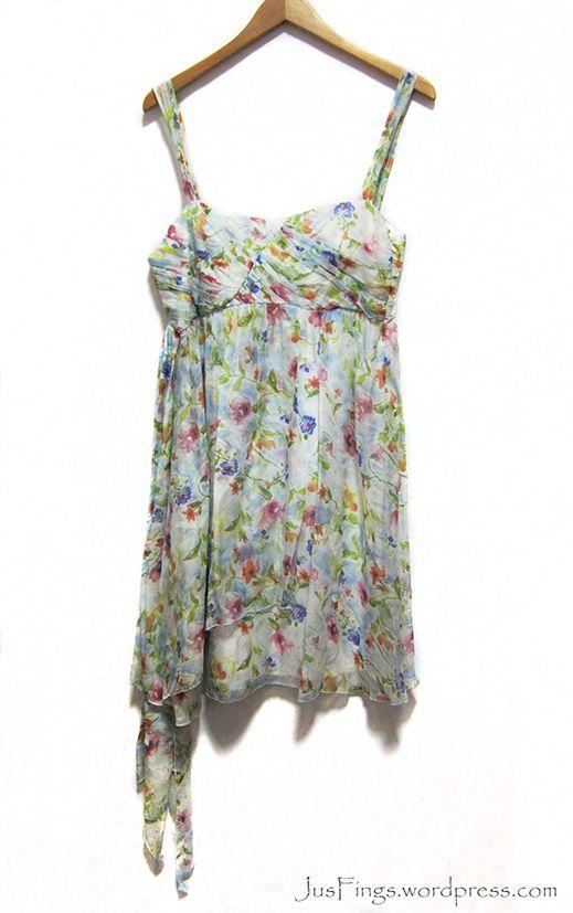 ZARA Floral Silk Chiffon Dress $28