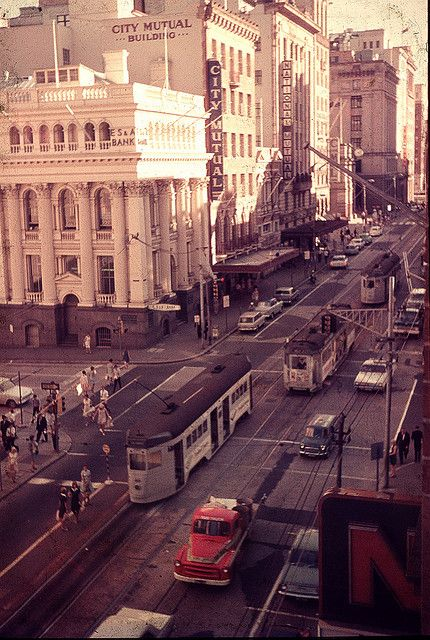 Trams at Queen and Creek Streets by Leonard John Matthews, via Flickr 1960s