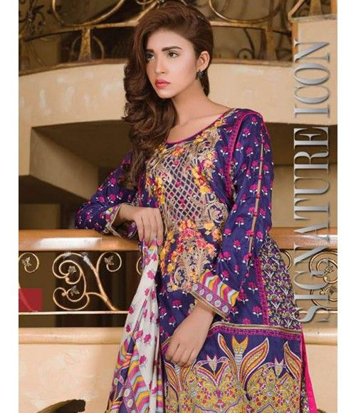 Signature Icon Embroidered Lawn Collection 2016 ZS_9B