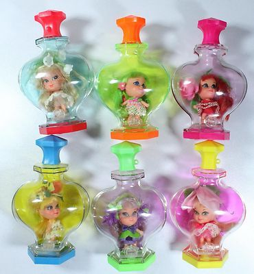 Lot Of 6 Vintage 1960's Mattel Liddle Kiddle Kologne Toy Dolls Perfume Bottles