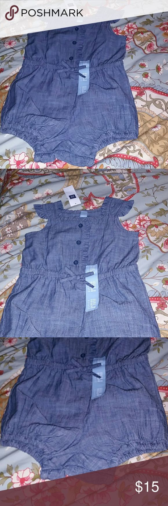 Baby gap chambray romper size 18 24 months nwt