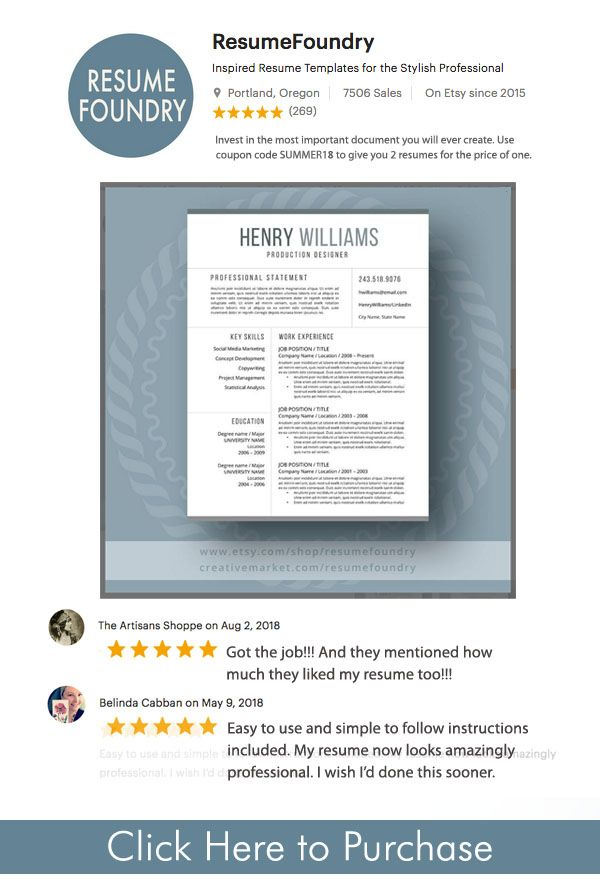 Resume Template Guaranteed to land you your dream job. Invest in ...