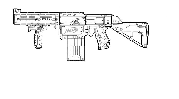Coloring Pages Nerf Gun : Nerf retaliator template this means war pinterest