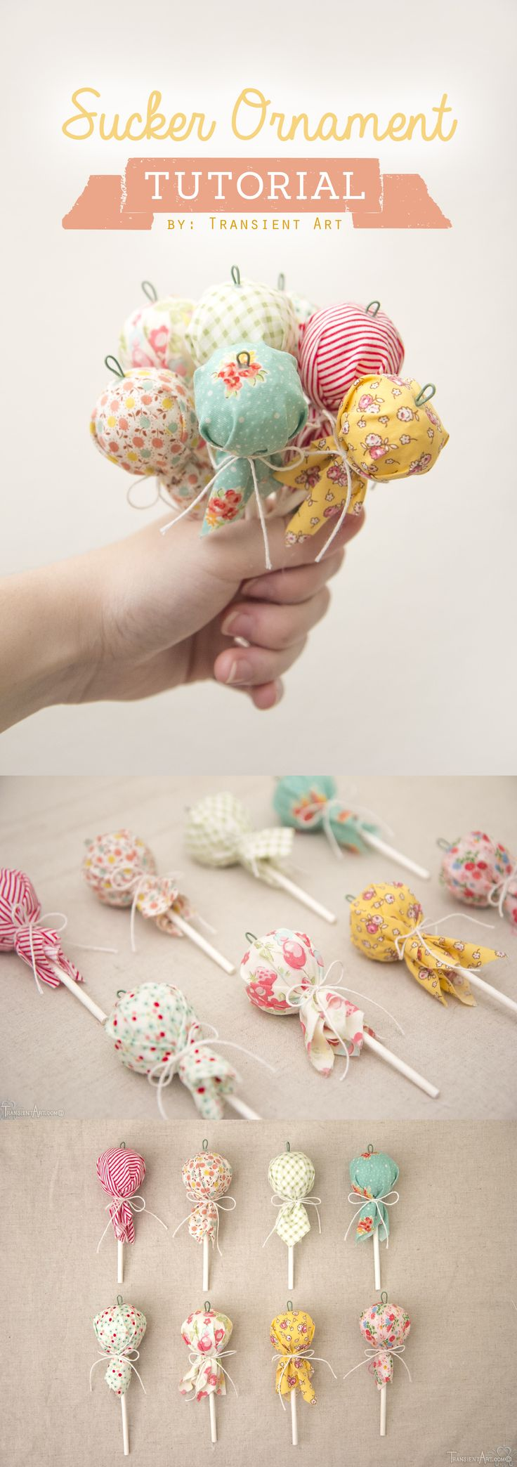 How to make ornaments that look like lollipops.