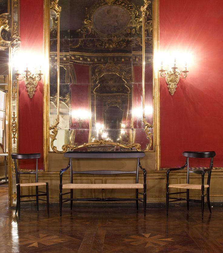 Campanino sofa, chair and armchair by Fratelli Levaggi @ Palazzo Cavour, Turin. #chiavarina #levaggi #chiavarichair
