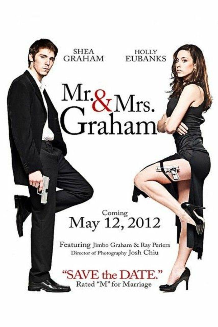 faire part mariage de style mr et mrs smith, idee creative faire-part de mariage original