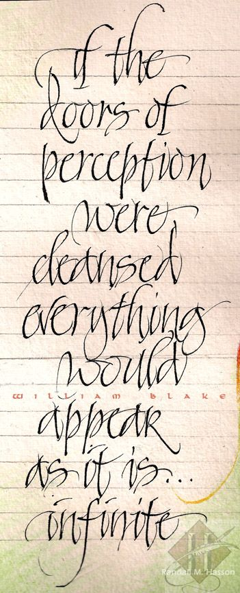 """Text from William Blake. Trial lettering in watercolor journal - practice for text that eventually went on the painting """"Forever"""". http://www.randallmhasson.com/Forever.php"""