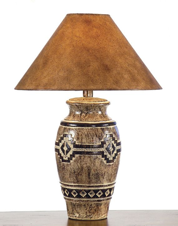 "29"" Hydrocal Lamp Southwest Lamps 100W Paprika Hide Shade"