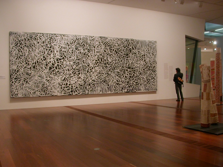 Emily Kame Kngwarreye (Kam Kngwarray), Big Yam Dreaming 1995, synthetic, polymer paint on canvas, 291.1 x 801.8 cm, National Gallery of Victoria, Melbourne © Emily Kame Kngwarreye.