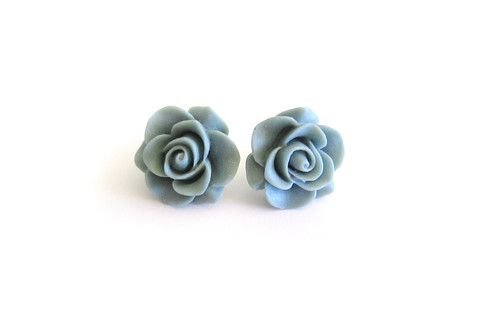 Large Grey Rose Studs – Dirty Lola's