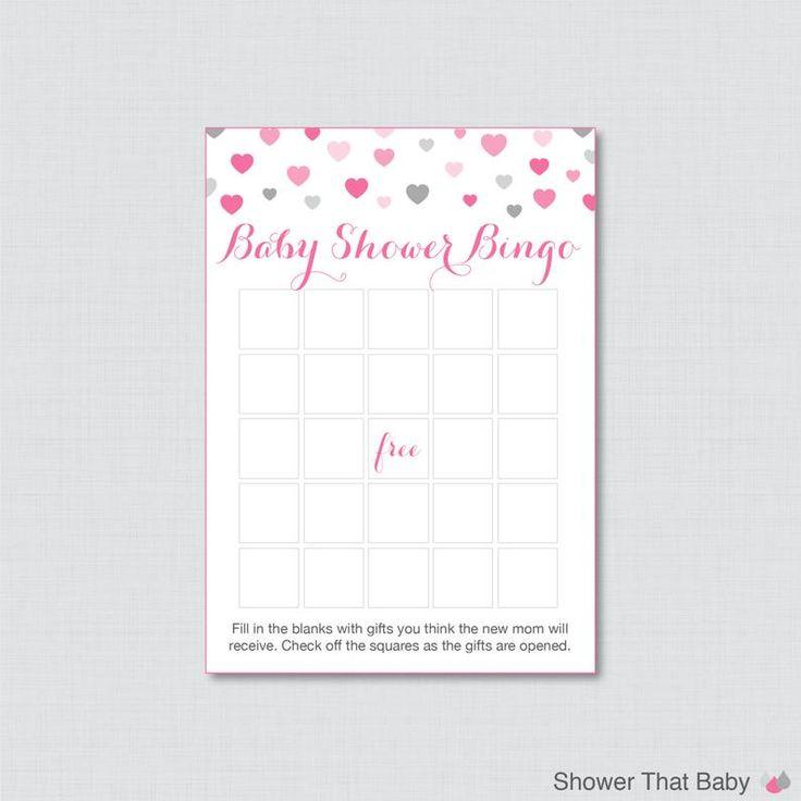 Hearts Baby Shower Bingo Cards Printable