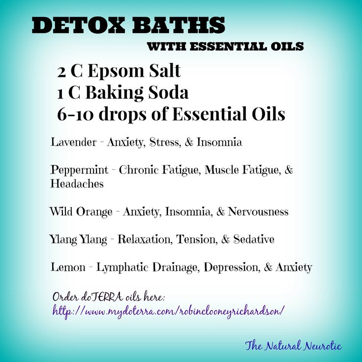 Detox Baths with doTERRA Essential Oils ~ Don't forget to soak in the bath for at least 30 minutes and drink plenty of water while in the tub