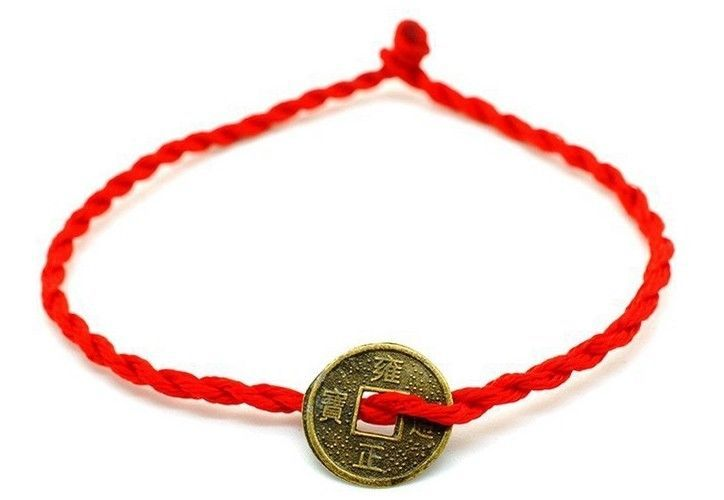 RED KABBALAH STRING BRACELET WITH I CHING COIN, FENGSHUI, EVIL EYE LUCKY JEWELRY #handmade
