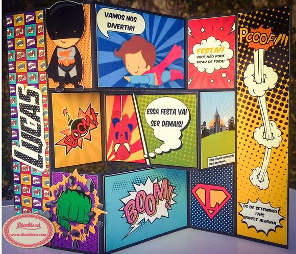 Convite Super-Heróis A4