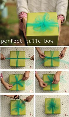 should wrap Christmas presents in gold paper and wrap with red and green tulle bows as decor