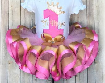 Pink and Gold Princess Crown Birthday Double Trim Tutu Outfit