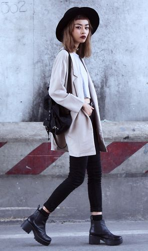 Young Hungry Free Coat, Minga London Top, Zara Jeans, Vagabond Boots /// More Grunge Fashion @ http://LuckyMelli.com