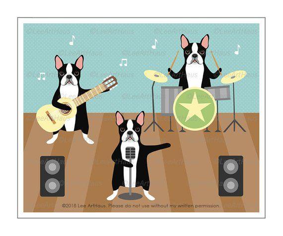 530d Dog Art Print Boston Terrier Rock Band Wall Art Boston