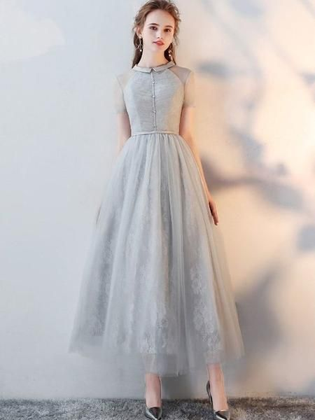 Gray Lace Turn-down Collar Short Sleeves Tulle A-Line Dresse