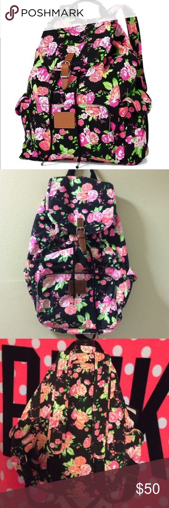 VS PINK Full-Sized Limited Edition Floral Backpack A little faded which actually gives it a cute vintage look and otherwise in great condition. Cute black/charcoal gray large-sized backpack with pink floral print all over from Victoria's Secret Pink. Limited edition, rare, & no longer sold in stores. Drawstring and snap button closure. Zipper pouch and 2 side compartments. Sooo cute! PINK Victoria's Secret Bags Backpacks
