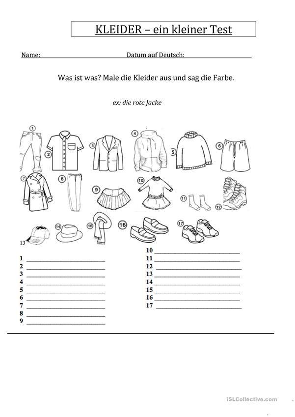 Kleider une Farben - ein Test | Kleidung, im Geschäft - DaF ...