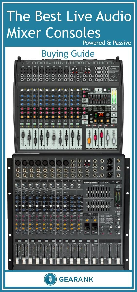 Detailed Guide to The Best Live Sound Mixer Consoles. Includes recommended lists of the highest rated Powered and Passive mixing consoles along with advice on topics including Inputs, Phantom Power and Channels, EQ, Effects and Other Tone Shaping Elements, Powered vs Passive Mixers and Gear Compatibility.