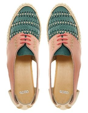 already thinking about summer..... Image 3 ofASOS JUKEBOX Leather Cut Out Flat Shoes