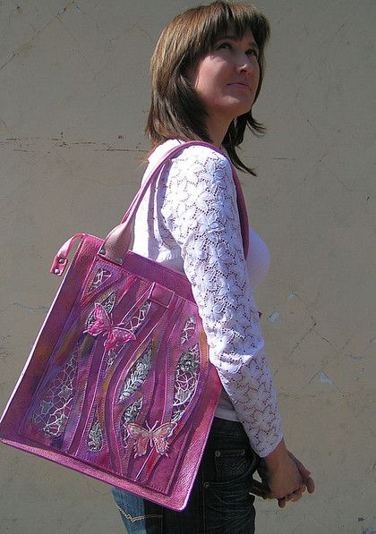 Розовое лето - сумка кожаная,сумка с декором,кожа,кружева