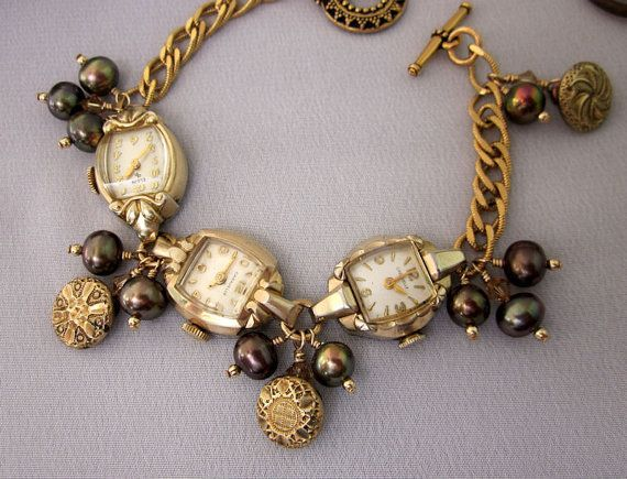 repurpose antiques | Repurposed Gold Watch Bracelet Pearls Antique by jryendesigns, $79.00