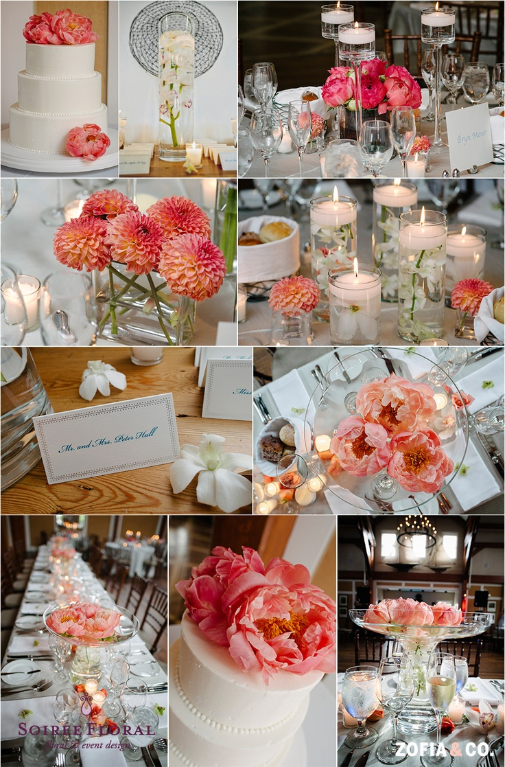coral peonies, dahlias, white orchids and calla lilies by Soiree Floral photo by Zofia & Co