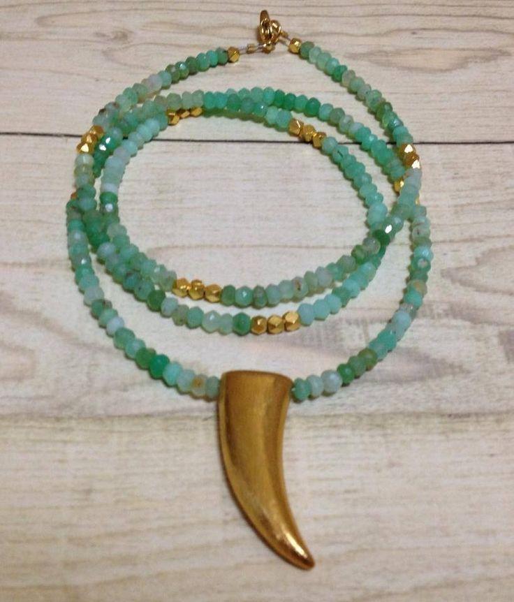 Chrysoprase & gold horn pendant