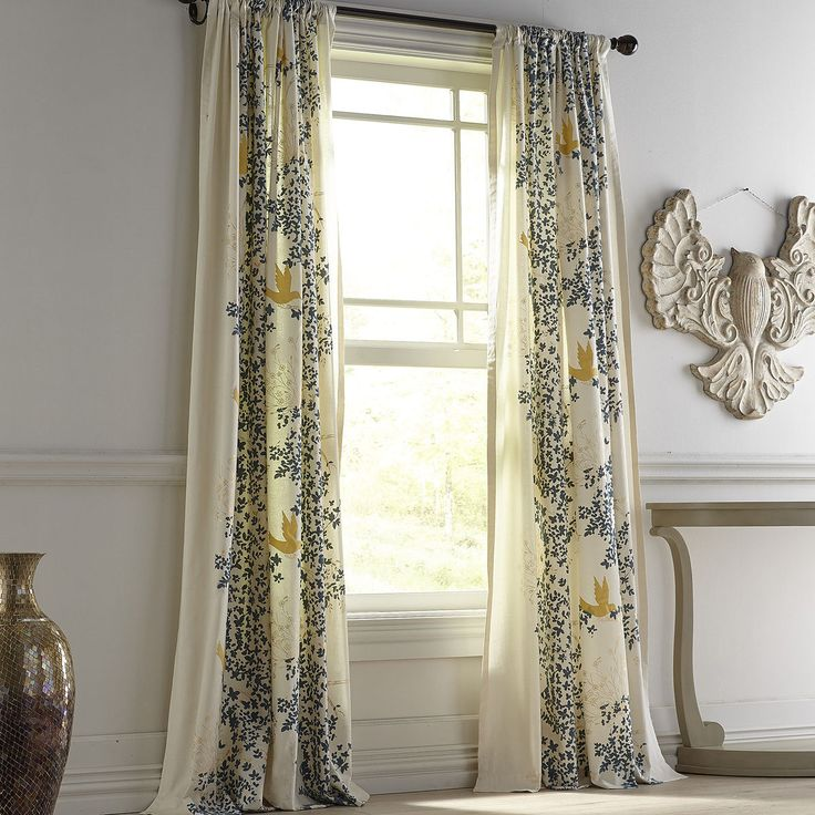 """Flocked Leaves Smoke Blue 96"""" Curtain 