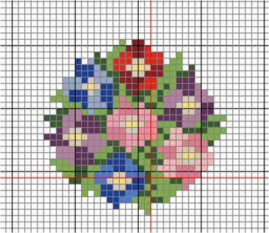 Cuadro con flores a punto de cruz - Rakelminis