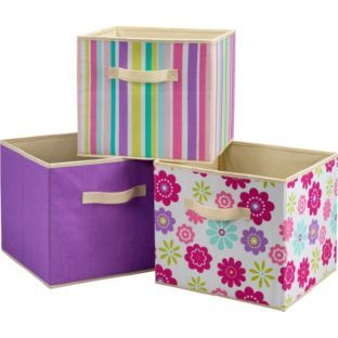 buy 3 pack of canvas storage boxes purple flowers at. Black Bedroom Furniture Sets. Home Design Ideas