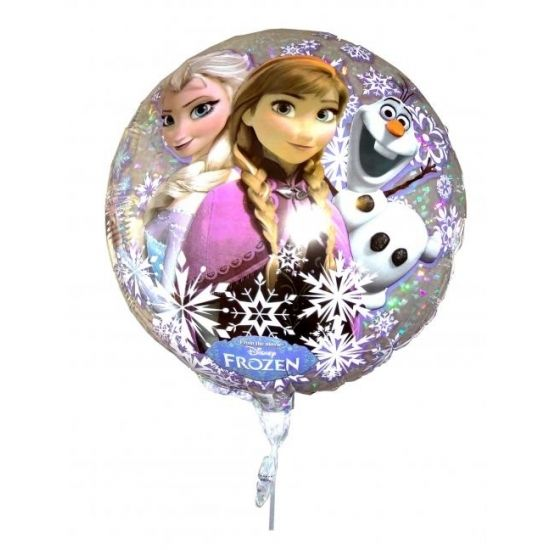 Folie ballon Frozen. Folie ballon met opdruk van Anna, Elsa en Olaf uit de bekende Disney film Frozen met een formaat van ongeveer 54 cm in diameter. Deze folie ballon wordt gevuld met helium geleverd en kan derhalve niet worden geretourneerd.
