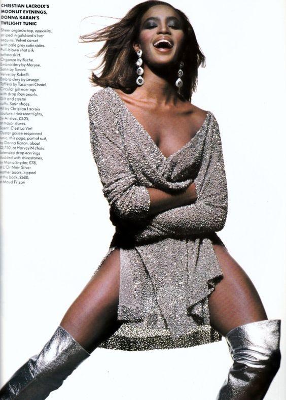 Naomi Campbell in Donna Karan dress for Vogue UK December, 1990.