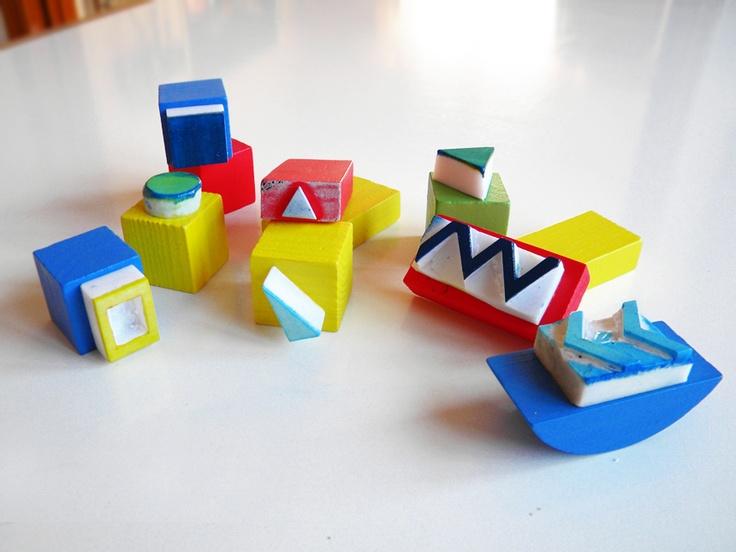 Geometric stamp tutorial (Fun for me, or the kids) found via Poppytalk