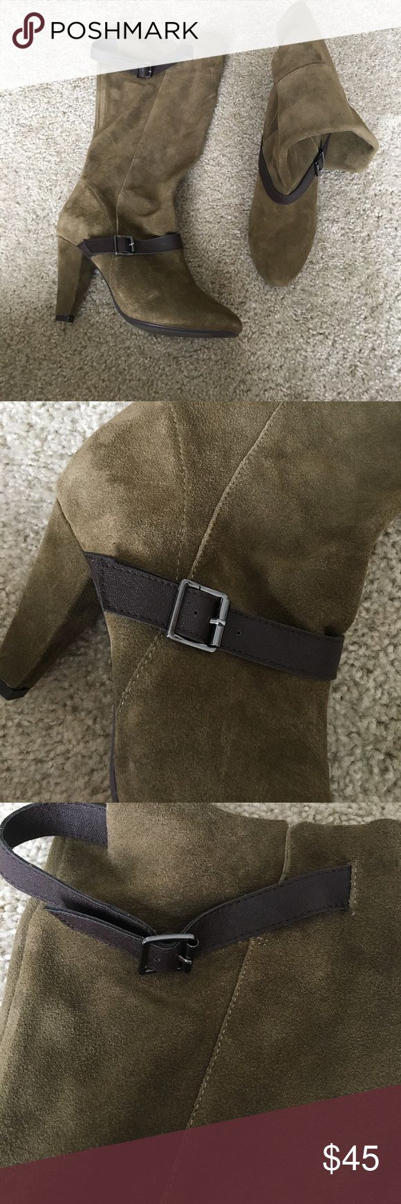 Suede Olive green slouchy boots These are beautiful boots, never worn. There are brown buckle details right below the ankle and then right at the top of the boot. These boots have a slouchy fit and fit on the calve. They do not go up to the knee. 3 inch heel, size 8. Never worn outside- I tried them on several times and walked around the house on them however just never found the time to wear them.  I purchased these at Victoria's Secret online boutique when they sold both clothing and shoes…